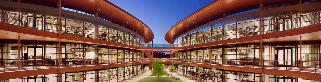 photo of the Clark Center Courtyard at night