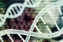 Graphic image of DNA strands with overlay of genome sequence letters.